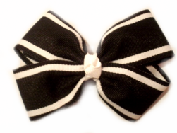 Black White Stripe Bow