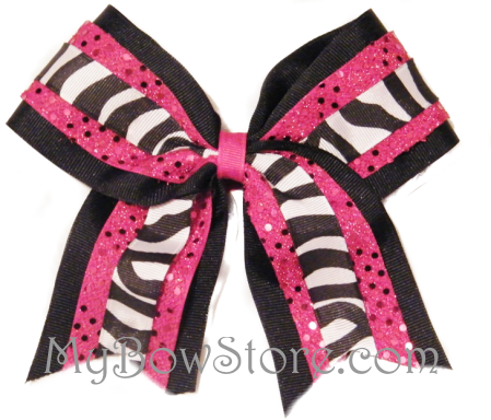 Zebra Sequin Cheer Bow