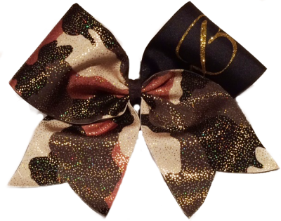 Camouflage Inital Cheer Bow