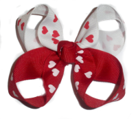 Double Hearts Twisted Hair Bow