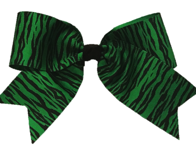 Green Zebra Print Cheer Bow